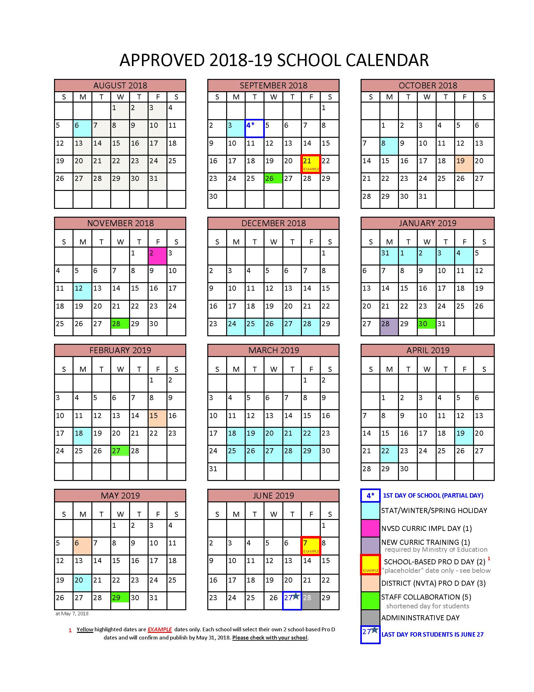Bc Calendar 2019 District Calendar   North Vancouver School District