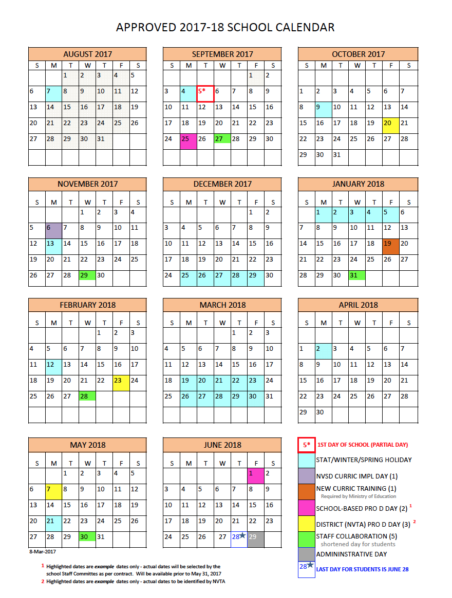 District Calendar - North Vancouver School District