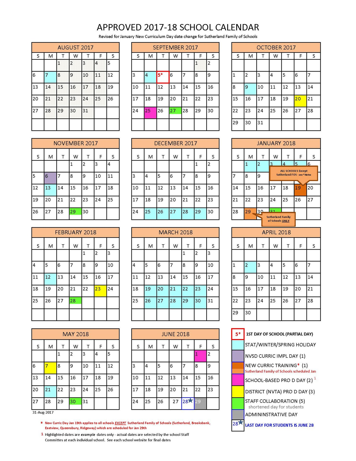 Calendar Days January 2017 To June 30 2019 District Calendar   North Vancouver School District
