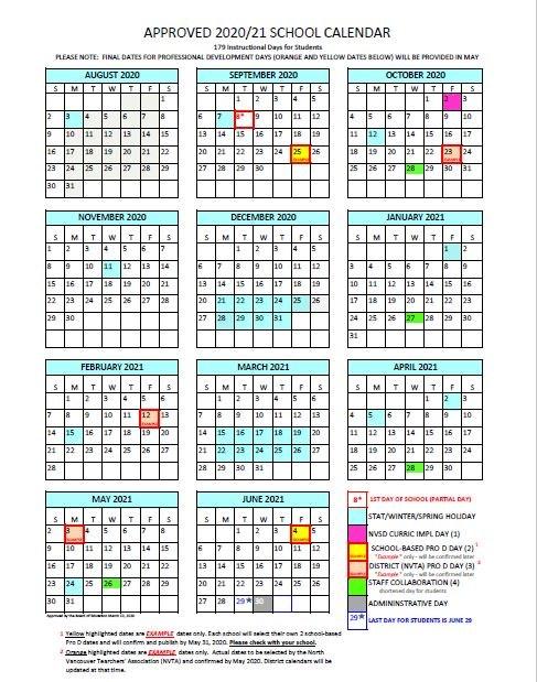 Vancouver School District Calendar 2021-2022 District Calendar   North Vancouver School District