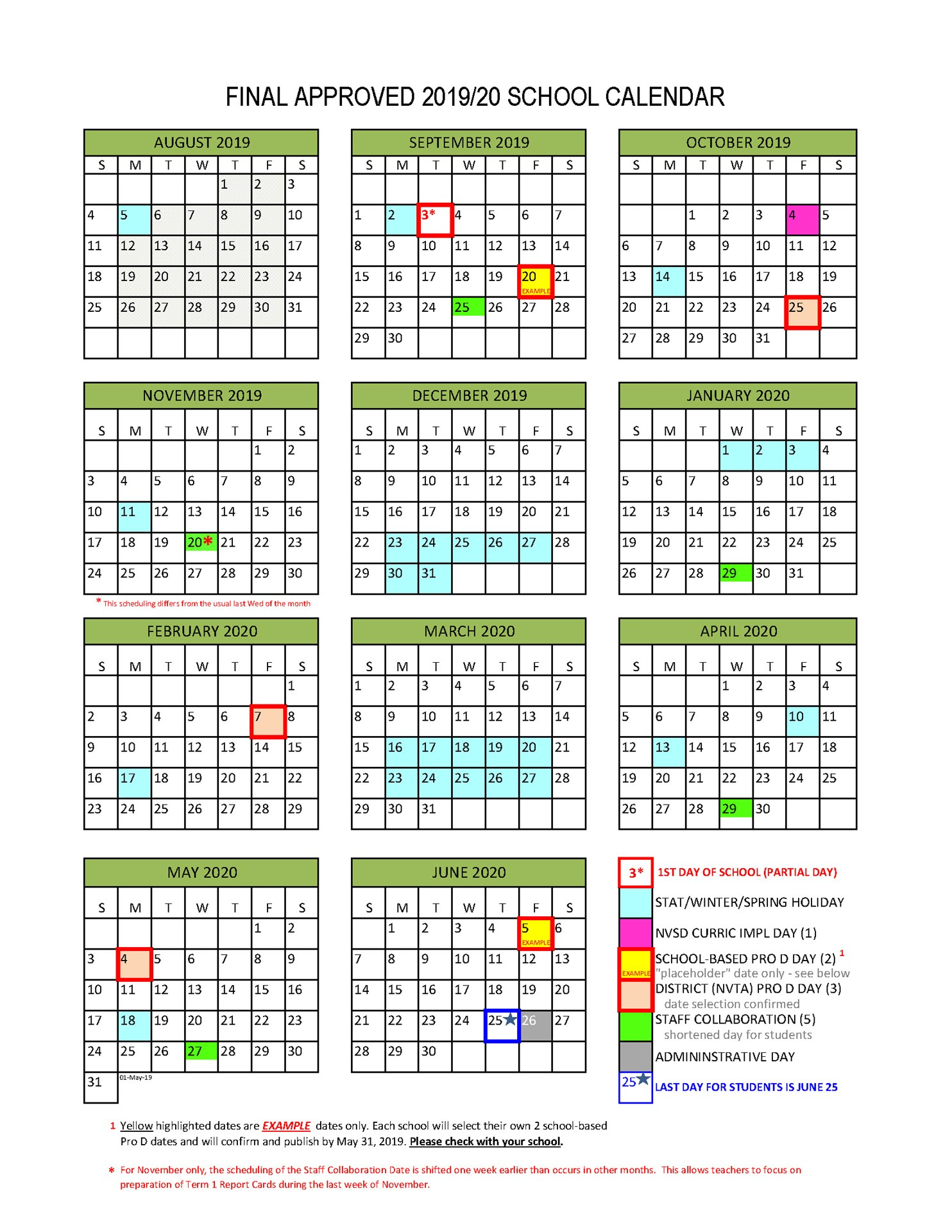 November 2017 Through January 2020 Calendar District Calendar   North Vancouver School District