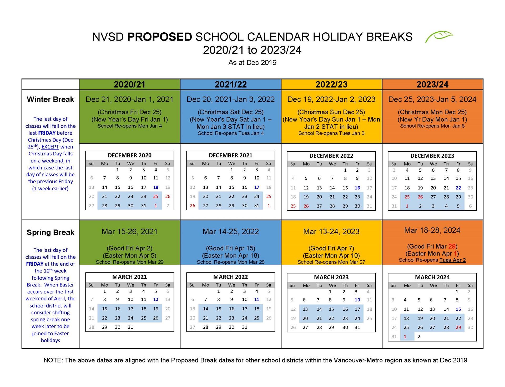 When Does Christmas Break Start 2021-2021 District Calendar North Vancouver School District