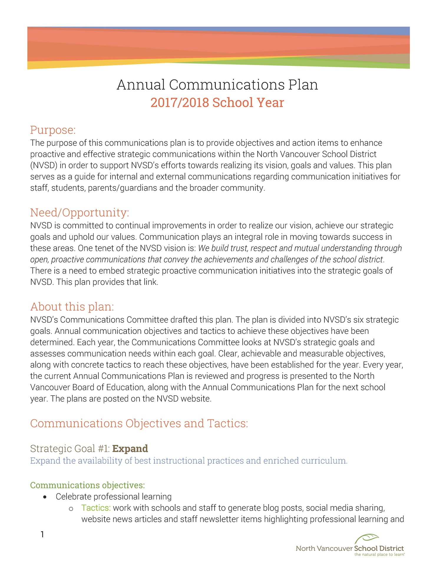 Annual Communications Plan - North Vancouver School District