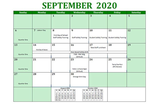 The 2020 - 2021 Argyle Student Calendar Has Been Posted