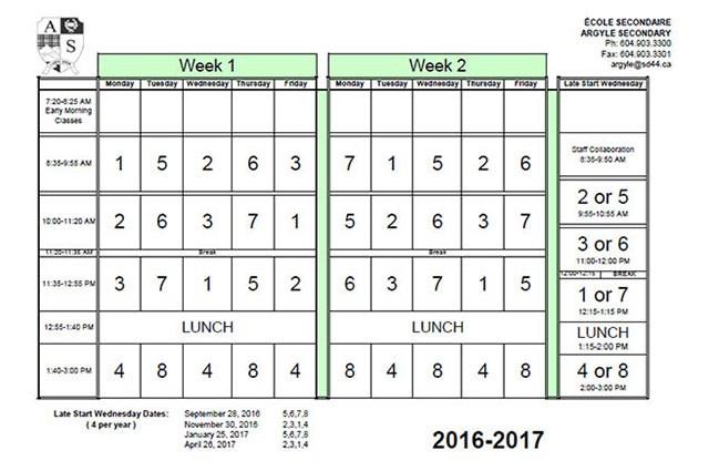 2016/2017 Calendar and Block Rotation